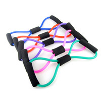 Wholesale Pilates Resistance Bands Purple - 5 Colors Fitness Resistance Exercise Bands Exercise Tubes Practical Elastic Training Rope Yoga Pull Rope Pilates ABS Workout Cordages