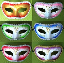 Wholesale Cheap Men Masquerades - hot new fashion half face 12 colorful combine gold wave lace cheap Masquerade Halloween Venetian Party Masks