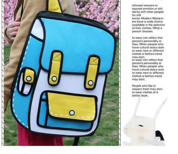 2013 modelos de explosión coreanos paquete secundario de comic salto doble de la bolsa de papel mochila mochila bolsas escolares
