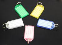 Wholesale Wholesale Blank Plastic Cards - 500Pcs Blank Plastic Keychains luggage tag Insert Photo Keyrings key card number-Free Shipping