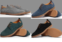 Wholesale Genuine Leather Wear - New Suede Leather Mens Loafers Purity Casual Lace Up Wear-Resisting Shoes 6 Colors Option
