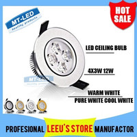 Wholesale Spotlight Down - 30X DHL FREE SHIPPING Dimmable High power Led ceiling lamp 12W 4 leds Led Bulb 110-240V LED lighting led down light spotlight with drive