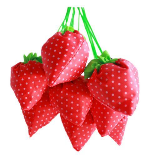 top popular Hot Free Shipping Portable Cute Strawberry Bags Eco Reusable Shopping Bag Tote Folding Foldable Bag 200pcs 2019