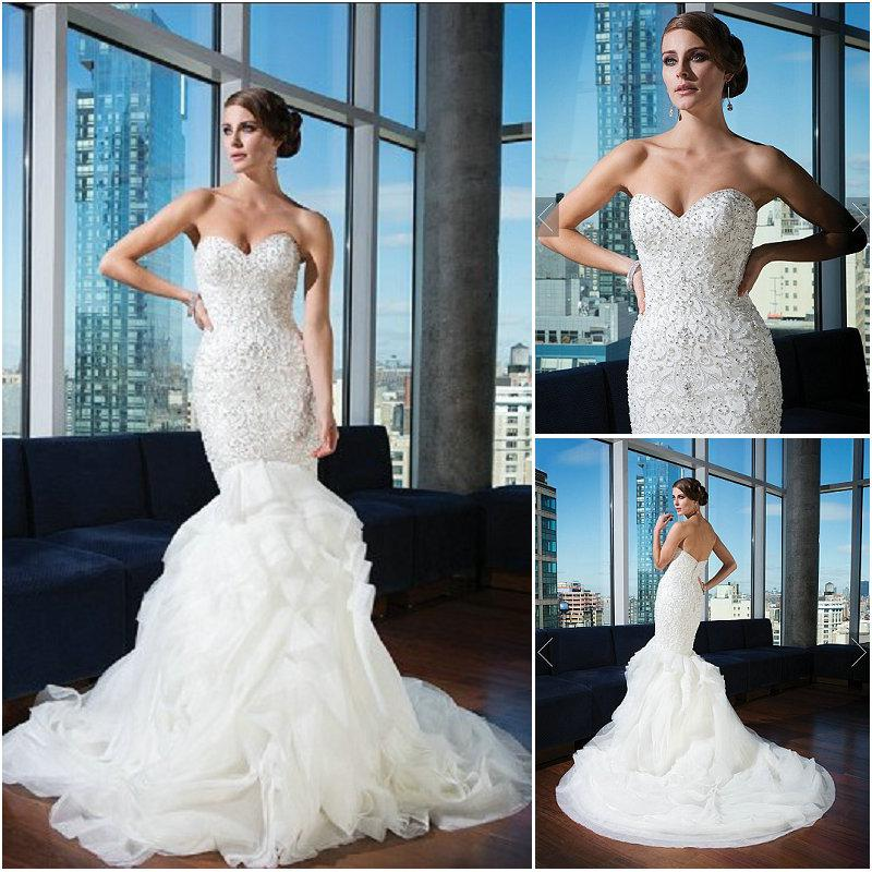 Justin Alexander Style 9740 Wedding Dresses Ivory Mermaid Organza ...
