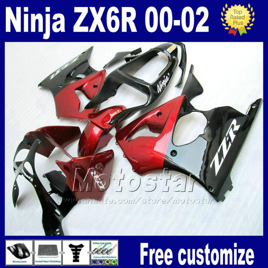 ABS fairings kit For kawasaki ninja ZX-6R ZX 6R 636 ZX6R racing bobywork kits ZX636 ZX-636 2000 2001 2002 black red fairing as84
