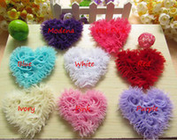 Wholesale Heart Shabby Flower Wholesale - EMS Ship Baby Flowers for hair accessories Shabby Heart Hair Chiffon Flowers Garment Hair Accessories for Head 100pc lot 8 Color Choose Free