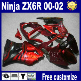 China Fairings kit For kawasaki ninja ZX-6R 00-02 ZX 6R 636 ZX6R racing bobywork ZX636 ZX-636 2000 2001 2002 red black fairing set as91 cheap fairing for kawasaki red ninja zx6r suppliers