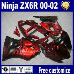 Carena per kawasaki red ninja zx6r online-Kit carene Per kawasaki ninja ZX-6R 00-02 ZX 6R 636 ZX6R racing bobywork ZX636 ZX-636 2000 2001 2002 set carenatura rosso nero as91