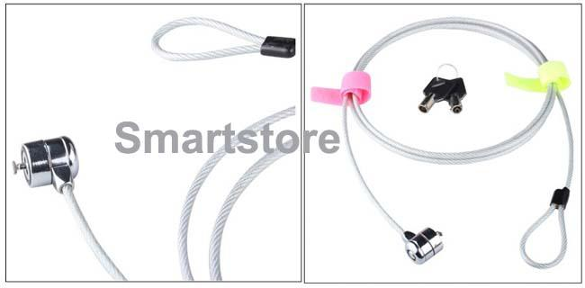 1000pcs/lot Laptop PC Notebook Security Cable Chain Key Lock with 2 keys Free Shipping 0001