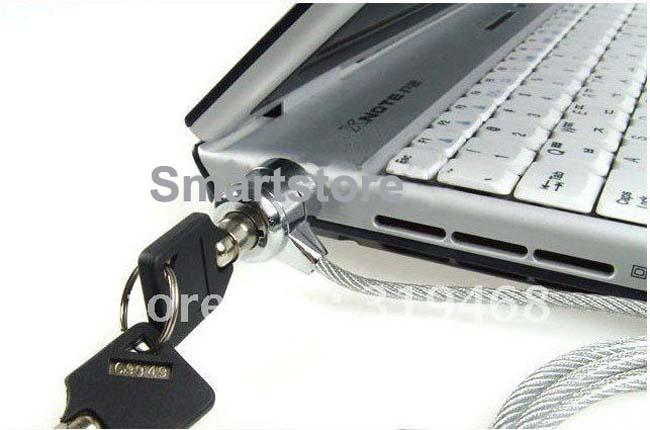 300pcs/lot Laptop PC Notebook Security Cable Chain Key Lock with 2 keys Free Shipping 0001