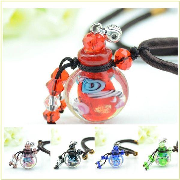 Collana pendente di profumo di vetro di colore MINI Riutilizzabile vuoto bottiglia di olio essenziale fragranza gioielli fascino pendente per le donne 5pcs / lot DC299