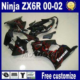 China Fairings kit For kawasaki ninja ZX-6R ZX 6R 636 ZX6R ZX636 ZX-636 2000 2001 2002 black red flame racing bobywork fairing set as101 cheap red black kawasaki zx6r suppliers