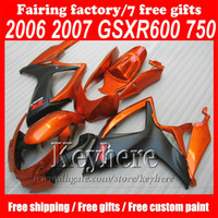 Wholesale motorcycle custom body kit for sale - Group buy Free gifts custom motorcycle ABS body fairing kit for Suzuki GSXR Fairings GSXR600 GSXR750 dark orange bodywork