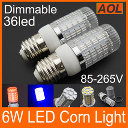 Wholesale Blue Bulb Covers - LED Corn Lamp E27 E14 G9 GU10 AC 85-265V 6W 36 LED 5050 SMD Dimmable LED Corn Light Bulb With Cover Corn Light White Warm White Red Blue