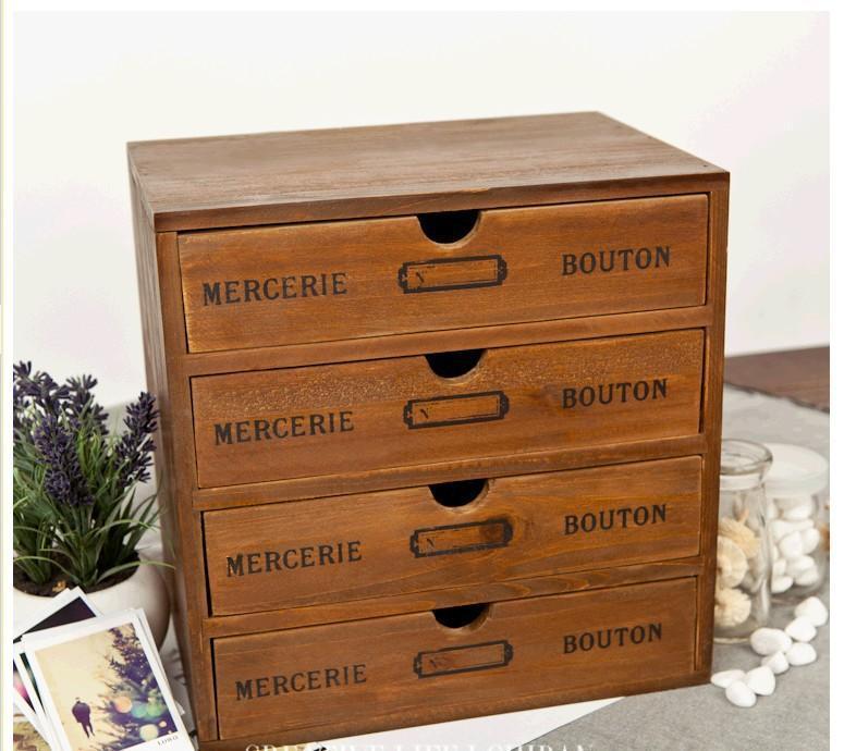 2018 Wholesale Zakka Wood Four Drawer Storage Box 4 Layer