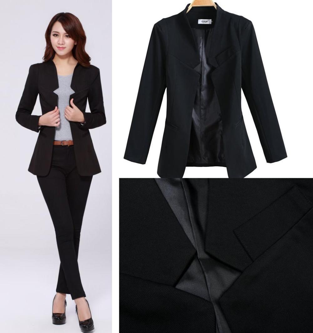 2018 2014 Fashion Business Suits For Office Ladies Black Color