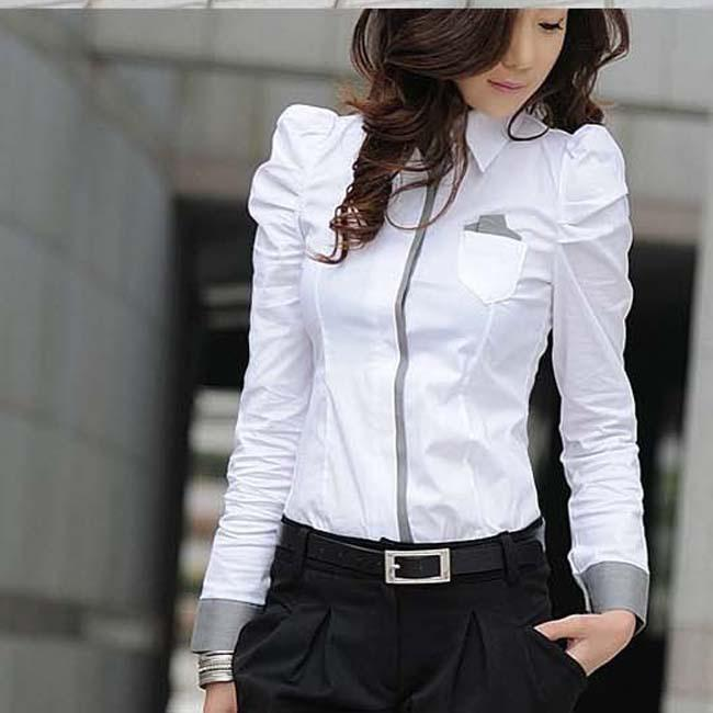 2017 Lady Long Sleeve White Shirt Nice Look Slim Fashion White ...