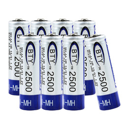 Wholesale Ni Mh Rechargeable - 8Pcs AA Battery 2500mAh 1.2V NI-MH NIMH Rechargeable Battery Free Shipping