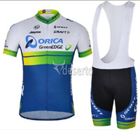 Wholesale Greenedge Cycling Set - 2014NEW orica greenEDGE team Outdoor tour sports short sleeve cycle bicycle bike Cycling top Jersey shirt athletic wear BIB shorts sets
