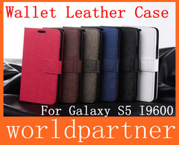 Wholesale Buy Card Holder Wallets - Oracle Wallet Flip Folio Leather Case Cover Skin Pouch for Samsung Galaxy S5 I9600 with Stand Holder Credit Card Slot Money Pocket 6 Colors