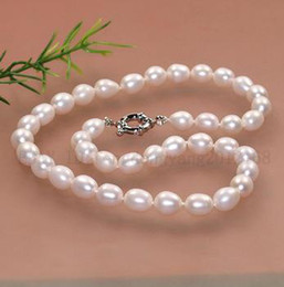 Wholesale Pearl Real Akoya - real Genuine AA 9-10mm white Cultured freshwater akoya pearl necklace 17 inch .woman's gift