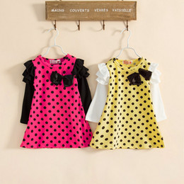 Wholesale Yellow Polka Dress - New Girl Dress Baby Tutu Dress Kids Princess Fashion Polka Dot Dress Autumn Children Flower Dresses 2 Color 5pcs lot