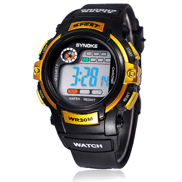 top popular Gift Watch For Student Men LED Digital Sports Watch Waterproof Mix Colors 10pcs DHL Drop Free Shipping 2019
