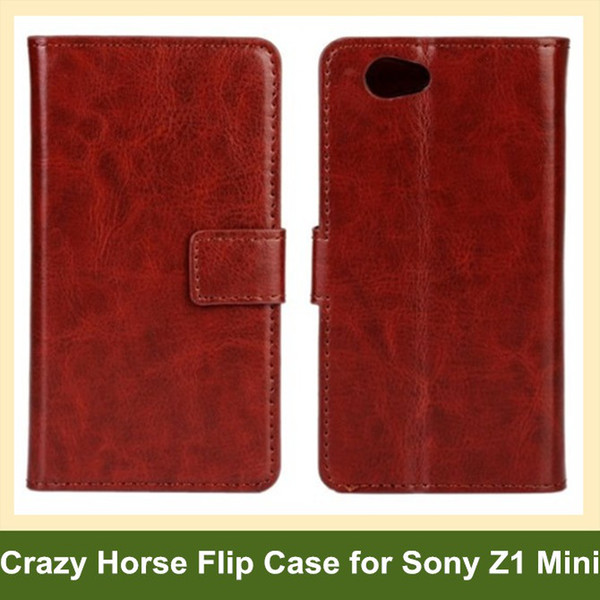 Wholesale Fashion Crazy Horse Pattern PU Leather Wallet Flip Cover Case for Sony Xperia Z1 Mini/M51w/Z1 Compact Free Shipping