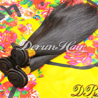 Wholesale Derun Virgin Hair - 10-30inches 100% Malaysian Virgin Human Weave Hair Extensions Straight Natural Color Derun Hair Weft Free Shipping Remy Hair Weave