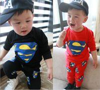 Wholesale Set Boys Superman - Baby Spring Clothing Set %100 Cotton Good Quality Cartoon Superman Sweatshirt + Pants Casual Baby's Suit Boy Girl Tracksuit Homewear GX24