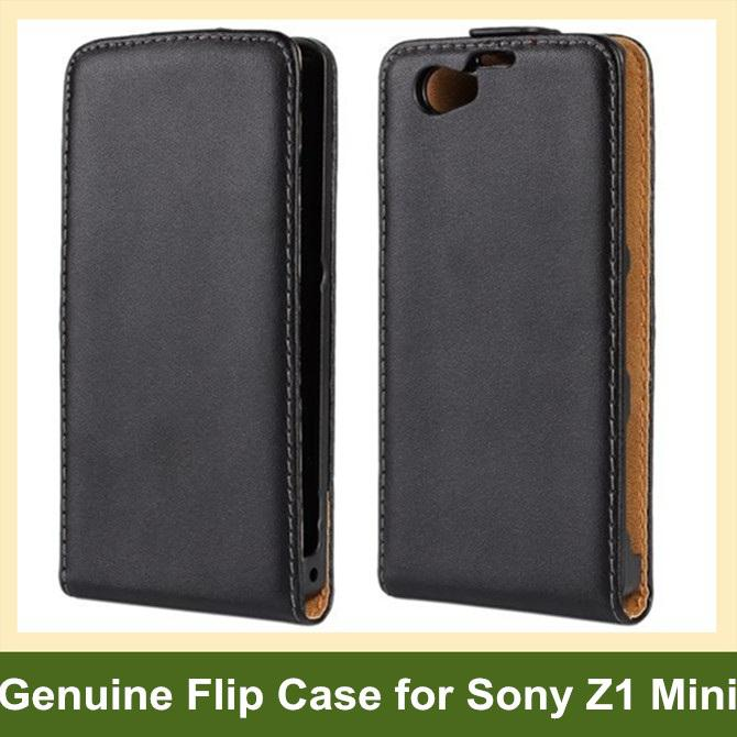 Wholesale Elegant Genuine Leather Flip Cover Case for Sony Xperia Z1 Mini/M51w/Z1 Compact with Magnetic Snap 10pcs/lot Free Shipping