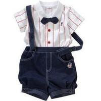 çocukların yazları toptan satış-Moda çocuk Giysileri Setleri Erkek Giyim Takım Elbise Bowties Gömlek Gallus tulum Pantolon Tulum Yaz Suit