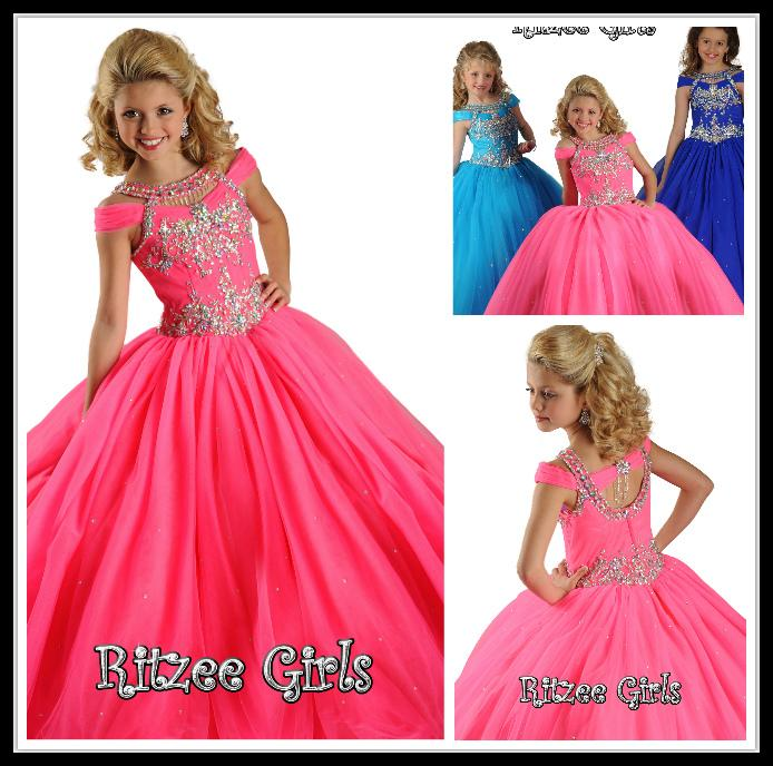 Design Fuchsia Pageant Girl\'S Dresses High Neck Crystal 2015 Ball ...