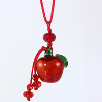 Wholesale Glass Apple Necklace - Lovely MINI Apple Perfume Necklace Color Glass Essential Oil Pendant Valentines Gift 5pcs lot DC274