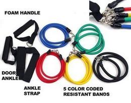 Elastic ropE ExErcisEs online shopping - 11Pcs in Set Fitness Resistance Bands Exercise Tubes Practical Elastic Training Rope Yoga Pull Rope Pilates Workout Cordages DHL free