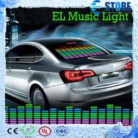 Wholesale Flashing Equalizer Panel - 90 x 25cm Sound Music Activated EL Sheet Car Sticker Equalizer Glow Flash Panel LED Multi Color Decorative Light Car Accessories,wu