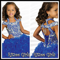 Wholesale Girls Crystal Formal Halter Dress - Gorgeous Royal Blue Girls' Formal Occasion Pageant Dresses Halter Ball Gown Tiers Organza Ankle Length Crystals Hollow Flower Girl's Dress