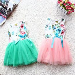 Wholesale Big Flower Dress - Retail 2016 summer new girls tutu dresses girl tutu dress baby clothing big rose flowers kids cotton lace dress 5colors Choose freely 2-6t