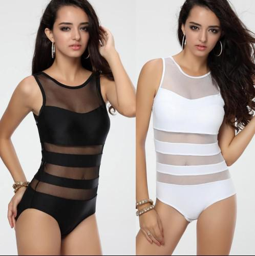 Newest Women's Black White One piece Swimwear Monokini with Mesh Tulle Sexy Vest Straps Bathing suit for Women Hot S M L T123