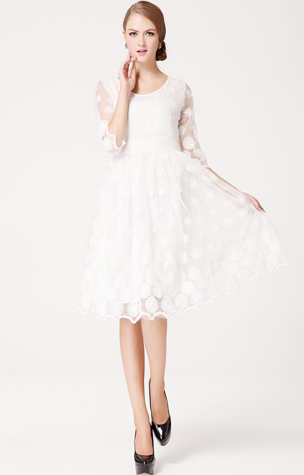 新しいファッション女性オーガンザプリンセス刺繍ドレスレディレディエレガントなスリムニーレングスホワイトウェディングドレス