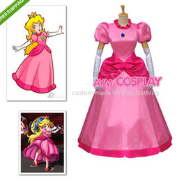 Wholesale Mario Costumes - New Arrival For Super Mario Bros Peach-Princess Toadstool Peach Dress Cosplay Costume Halloween Party Event Coser Cosplayer