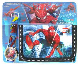 Wholesale Pc Wrist Watch - 20 pcs cartoon Spiderman wrist watches + 20 pcs wallets