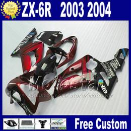 $enCountryForm.capitalKeyWord Canada - Fit For kawasaki Ninja ZX-6R 2003 2004 plastic motorcycle fairings kit ZX 6R 636 ZX636 ZX-636 ZX6R red glossy black fairing bobywork qw9