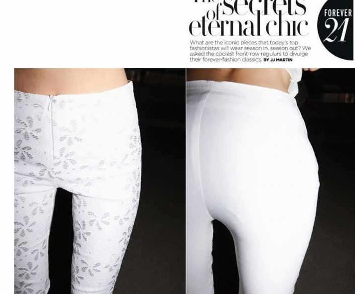 Ücretsiz Kargo 2014 Sıcak kadın Rahat Pantolon Render Dantel Çiçek Desen Eğlence Ince Kalem Pantolon Beyaz / Siyah