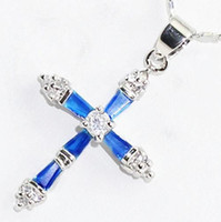 Wholesale Blue Topaz Necklaces - Charming! Natural Blue Topaz Gemstone Cross Pendant Necklace 18""