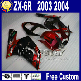 Body Ninja Zx Australia - Fairing body kit For ZX 6R 636 kawasaki Ninja 03 04 ZX-6R plastic red black motorcycle fairings set ZX636 2003 2004 ZX6R AD1