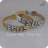 Wholesale Spark Jewelry - JESUS Full Rhinestone Slider Crystal Letter Charm Glitter Spark Leather Bracelet DIY Wristbands Mix Color Fashion Catholic Christian Jewelry