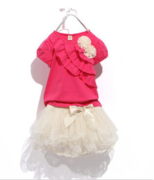 Chinese  Wholesale - Children clothes girl dress Girls flowers lace dress girl tutu skirt T-shirt+tutu skit for 8~16 years old girl 5s l manufacturers