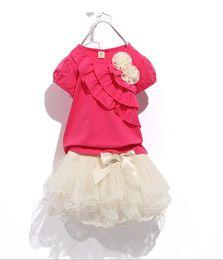 Wholesale Tutu Shirt For Girls - Wholesale - Children clothes girl dress Girls flowers lace dress girl tutu skirt T-shirt+tutu skit for 8~16 years old girl 5s l