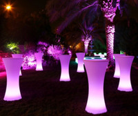barra de luz recargable al por mayor-Mesa de cóctel iluminada LED, salón LED, mesa de bar led brillante a prueba de agua, mesa de café iluminada recargable, brillante mesa de centro